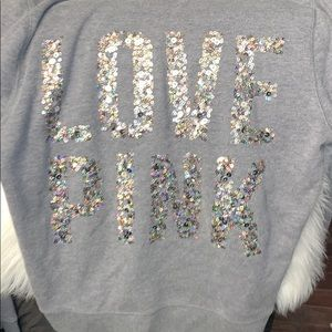 Grey PINK sweater. Good condition.